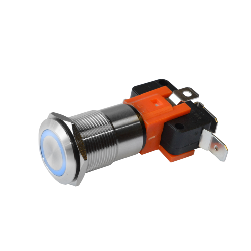 high current metal push button switch with led illumination, RGB LED available, rjs electronics ltd