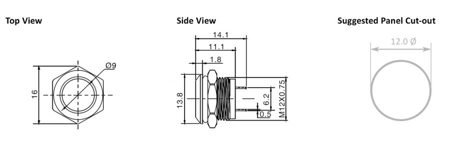 12mm - panel cut out - RJS Electronics Ltd