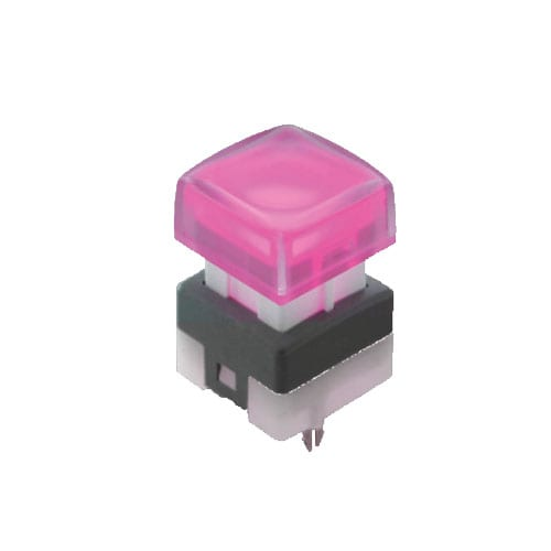 Broadcast push button switch with LED illumination, pcb mount, SPG series, RJS Electronics Ltd