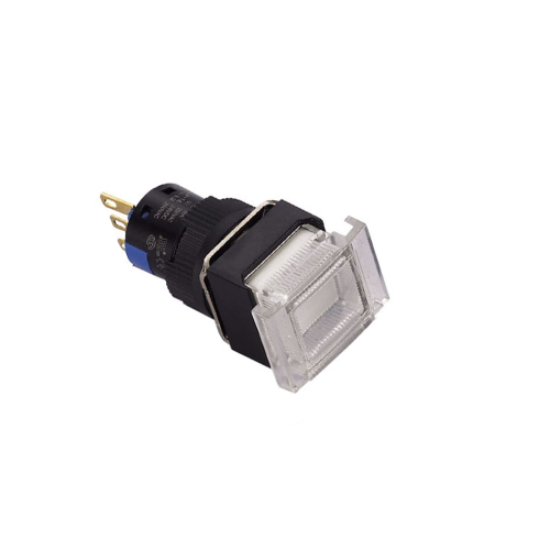 Plastic Push Button Switch, 16mm Push Button, panel mount switch. Single LED Illumination: Red, Green, Yellow, Blue, Orange and White. Plastic Push Button switch with LED illumination, choose from momentary or latching switch. IP65 rating, RJS Electronics Ltd
