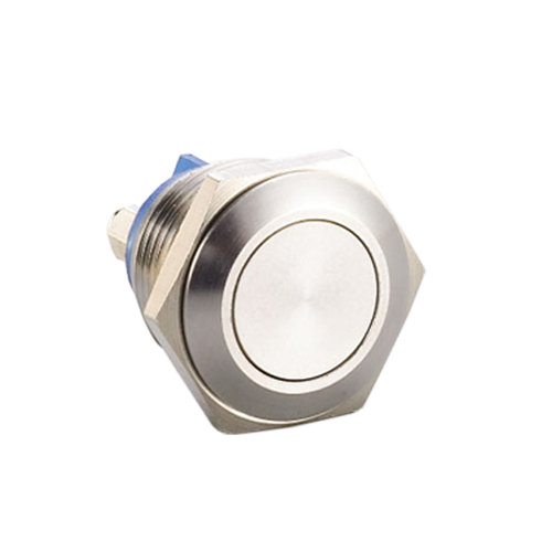 16mm metal antivandal push button switch, ip67 rated, short body, rjs electronics ltd