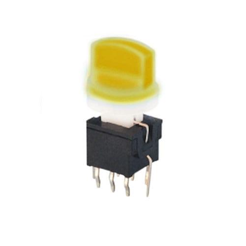pb61301- yellow - PCB switches, Push button switch, Switch with LED illumination, single LED illumination, bi-colour LED illumination, RGB Illumination, momentary function or latching function, IP Rated, RJS Electronics Ltd.
