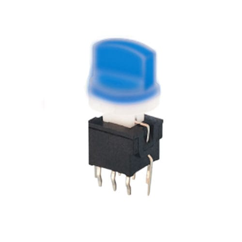 pb61301 - blue, PCB switches, Push button switch, Switch with LED illumination, single LED illumination, bi-colour LED illumination, RGB Illumination, momentary function or latching function, IP Rated, RJS Electronics Ltd.