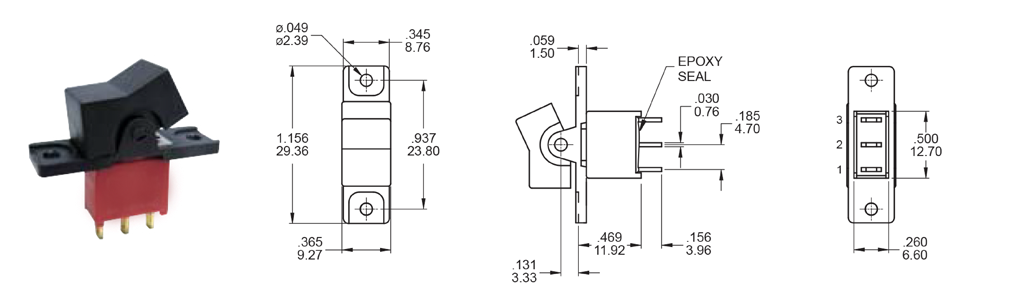 3A - spst, rocker switch, panel mount. RJS Electronics Ltd.
