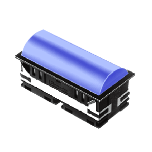 BL - 30mm - rectangular - Domed style, with LED illumination - BLUE - RJS Electronics Ltd