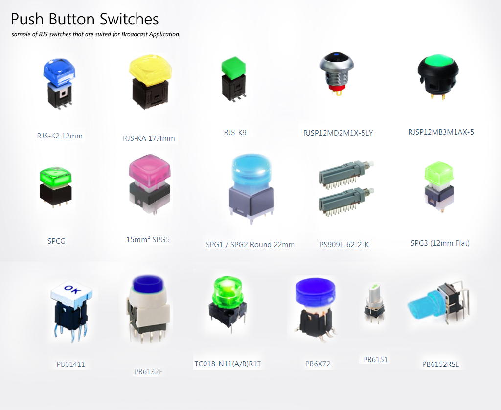 Broadcast Application, Broadcast Industry, Broadcast Switches, RJS Electronics Ltd - Pushbutton Switches
