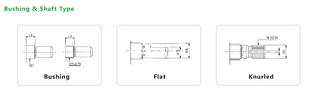Bushing + shaft type - PCB - pots, knobs & encoders - with LED illumination or without LED illumination. RJS Electronics Ltd