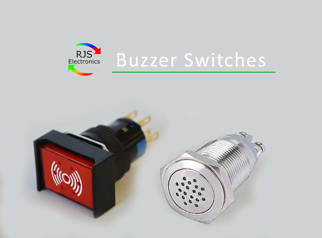 Plastic and Metal, Buzzer Switches, with LED illumination, Full LED illumination, Ring LED illumination, continuous or discontinuous buzzing sound. Various voltage and current available. Single LED illumination, Red, Green, Blue, Yellow, Orange and White. 16mm and 19mm Buzzers. IP Rated. RJS Electronics Ltd.