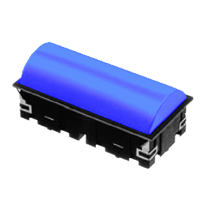 CL - Domed RECT. LED INDICATOR PANEL - 40mm X 80mm - Blue - RJS Electronics Ltd.