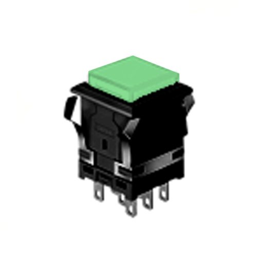 EH - 14.22 mm Sq - Full Illumination - Panel Mount, Plastic Push Button Switches- Green - RJS Electronics Ltd. LED illumination with single LED, Split Face LED illumination, Dual Colour LED Illumination, Panel Mount, RJS Electronics Ltd, SPST/DPDT