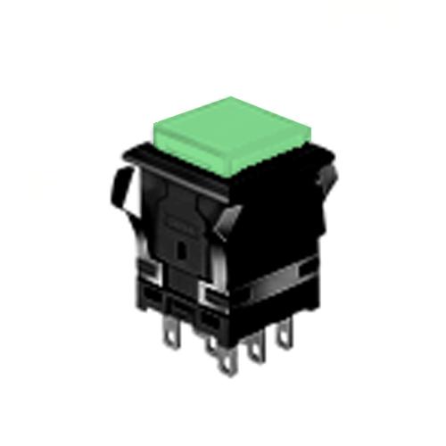 EH - 14.22 mm Sq - Full Illumination - Panel Mount, Plastic Push Button Switches- Green - RJS Electronics Ltd. LED illumination with single LED, Split Face LED illumination, Dual Colour LED Illumination, Panel Mount, RJS Electronics Ltd, SPST/DPDT