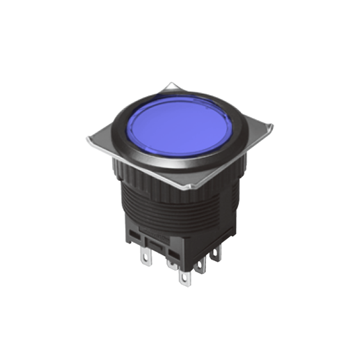 EH-G- Illuminated Push Button Switches - Round Flat - Blue - Momentary Pushbutton Switch, Latching push button switch, Latching function, RJS Electronics Ltd.