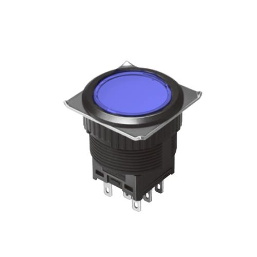 EH-G- Illuminated Push Button Switches - Round Flat - Blue - Momentary Pushbutton Switch, Latching push button switch, Latching function, RJS Electronics Ltd.
