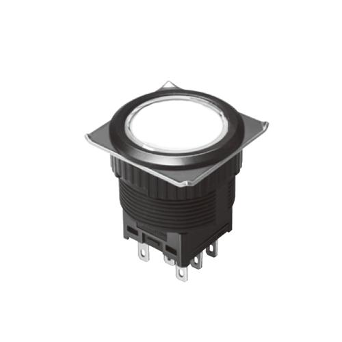 EH-G- Illuminated Push Button Switches - Round Flat - White, Single LED illumination, Bi-colour LED Illumination, RGB Illumination, ring LED illumination, dot illumination, full illumination, split face illumination, dual illumination, RJS Electronics Ltd.