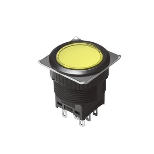 EH-G- Illuminated Push Button Switches - Round Flat - Yellow - RJS Electronics Ltd.
