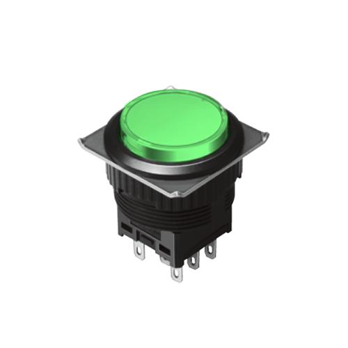 EH-G- Illuminated Push Button Switches - Round - Green - RJS Electronics Ltd.