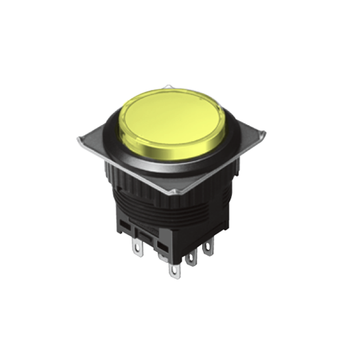 EH-G- Illuminated Push Button Switches - Round - Yellow - Momentary push button switch, momentary function, Latching push button switch, Latching function, IP rated, RJS Electronics Ltd.