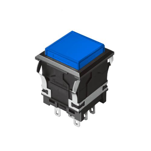 EH-G- Illuminated Push Button Switches - SQUARE - Blue - RJS Electronics Ltd.