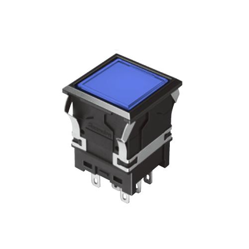 810 -EH-G- Illuminated Push Button Switches - SQUARE - Flat - Blue -- RJS Electronics Ltd. SPDT/DPDT