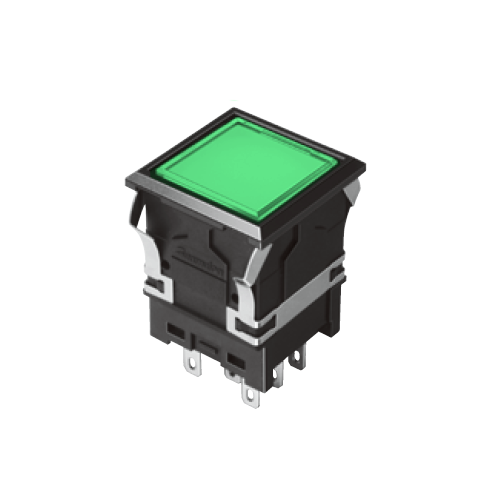810 -EH-G- Illuminated Push Button Switches - SQUARE - Flat - Green -- RJS Electronics Ltd. SPST/ DPDT