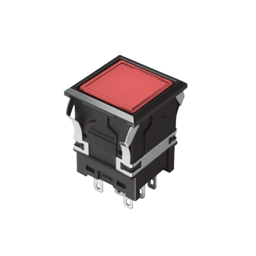 810 - EH-G- Illuminated Push Button Switches - SQUARE - Flat - Red - RJS Electronics Ltd. Panel Mount Switch. Momentary push button switch, momentary function, IP rated, RJS Electronics Ltd.