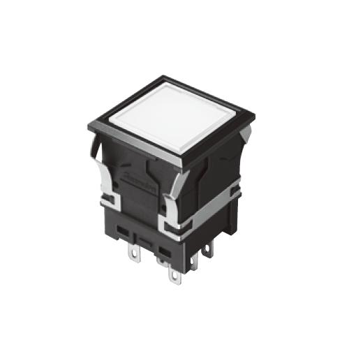 810 - EH-G- Illuminated Push Button Switches - SQUARE - Flat - White, Single LED illumination, Bi-colour LED Illumination, RGB Illumination, ring LED illumination, dot illumination, full illumination, split face illumination, dual illumination, RJS Electronics Ltd. spdt/dpdt