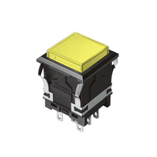 EH-G- Illuminated Push Button Switches - SQUARE - Yellow - RJS Electronics Ltd.