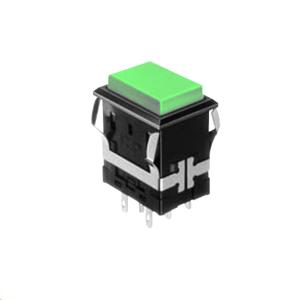 FH - Illuminated Switch - Rectangular - Green LED Illumination - momentary pushbutton switch function or latching pushbutton switch function, RJS Electronics Ltd