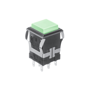 FH - Illuminated Switch - Square - Green LED Illumination - RJS Electronics Ltd