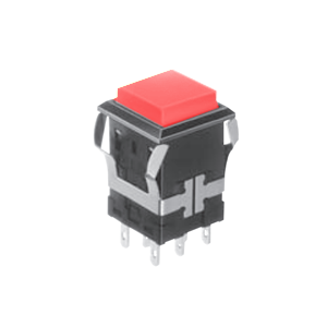 FH - Illuminated Switch - Square - Red LED Illumination - RJS Electronics Ltd