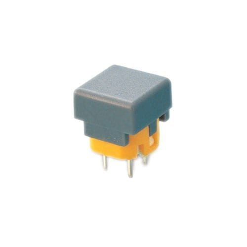 PCB, Push button switch, non-illuminated Tact Switch, momentary with push button feature, silent click, click sound. RJS Electronics Ltd.