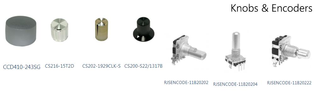 PCB Electromechanical components, knobs and encoders. RJS Electronics Ltd.