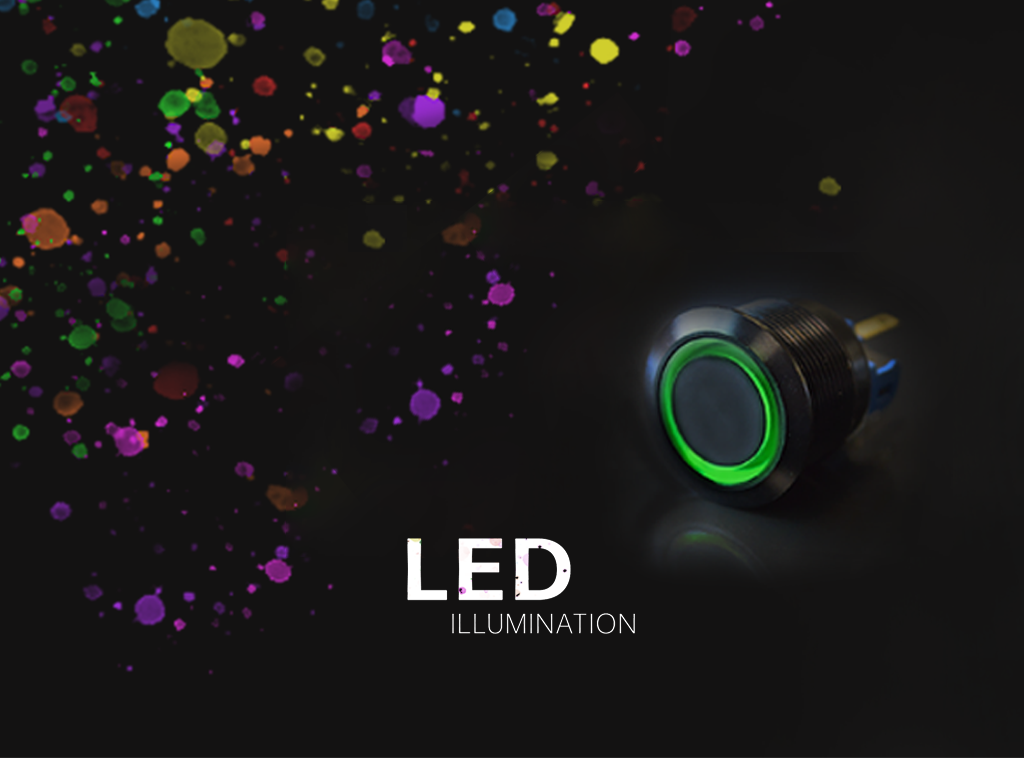 RJS Electronics Ltd, LED Illumination, push button switches PCB panel mount, single, dual, RGB LED illumination.