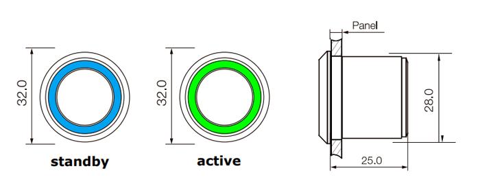RJS-TLS RANGE - LED illumination options, standby v. active. RJS Electronics Ltd.