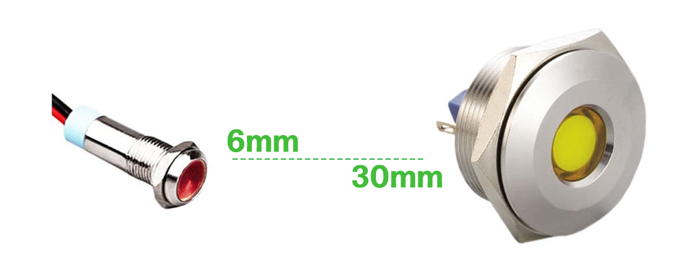 metal indicator sizes from 6mm to 30mm rjs electronics