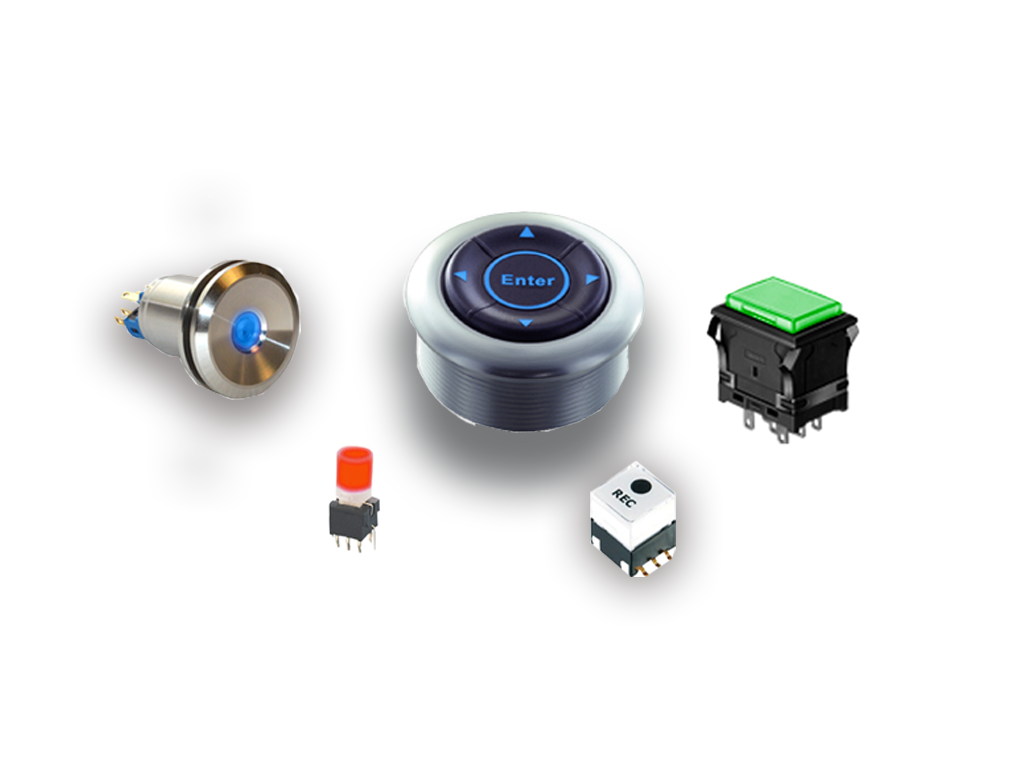 momentary and latching push button switches with or without LED illumination, PCB and Panel Mount Switches, RJS Electronics Ltd.