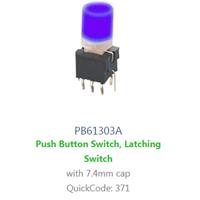 PCB, Panel Mount, PB61303A SWITCH with LED illumination, Single colour, BI-COLOUR, RGB LED ILLUMINATION - RJS ELECTRONICS LTD