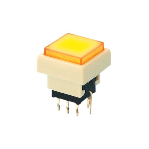 PB6133 _ Yellow - PCB Push button switch, square, push button switch, square, plastic, LED Illumination, RJS Electronics Ltd.