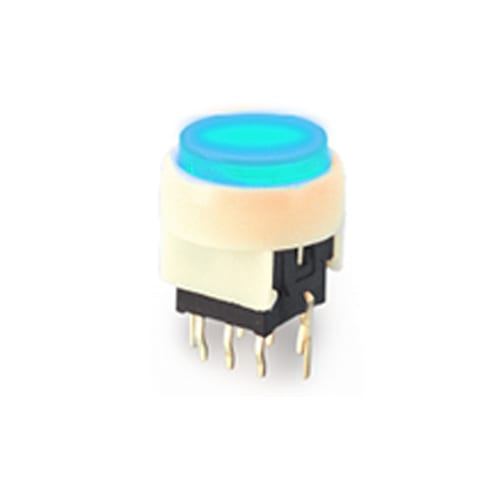 PB6134F_ Blue - PCB, round Illuminated LED switch availble with single/bi-colour LED illumination. Select from momentary and latching push button function. RJS Electronics Ltd.