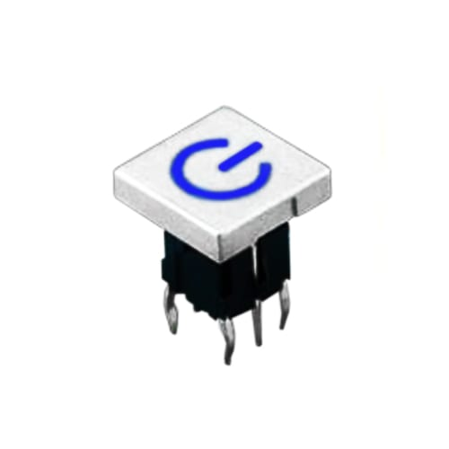 PB61413_ CS_ Blue - PCB Push button switch, square cap, custom etching, RJS Electronics Ltd.