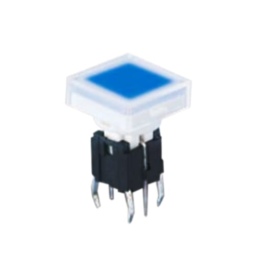PCB, push button switch, illuminated tact switch, without LED illumination, switch with LED illumination, single LED illumination, bi-colour LED illumination, custom etching custom. Momentary function switch with Plastic housing. RJS Electronics Ltd.