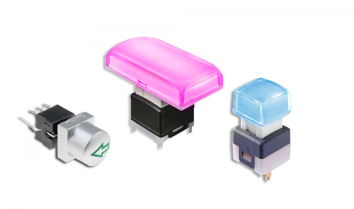 PCB push button switch, led illuminated, group image, rjs electronics ltd