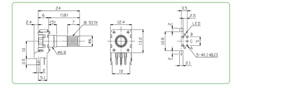 PCB- Pots, knobs & encoders, horizontal LED illuminated Encoder - single Colour drawing. - RJS Electronics Ltd