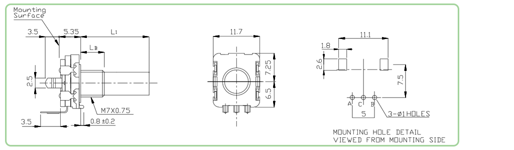 PCB- Pots, knobs & encoders, horizontal Non-Illuminated Encoder - drawing. - RJS Electronics Ltd