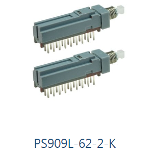 PCB Pushbutton Switch, PS909L- Momentary v. Latching RJS Electronics Ltd, PS909L-62-2-K