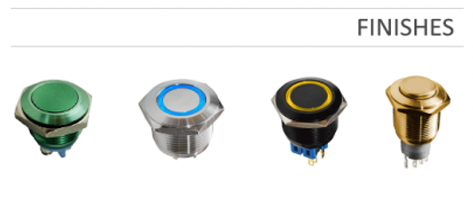 Custom Panel mount switch options, see our range of finishes. RJS Electronics Ltd.