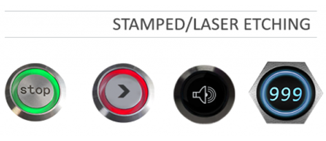 Custom panel mount switch options, select from stamped or laser etching. RJS Electronics Ltd.