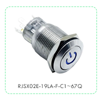 Panel Mount, Metal push button switch with LED illumination, power symbol. RJS Electronics Ltd, RJSX02E-19LA-F-C1~67Q