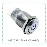Panel Mount, Metal push button switch with LED illumination, power symbol. RJS Electronics Ltd, RJSX02E-19LA-F-C1~67Q