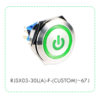 Panel Mount, Push Button Metal Switch with LED Illumination, including power symbol or custom etching, RJSX03-30L(A)-F-(CUSTOM)~67J